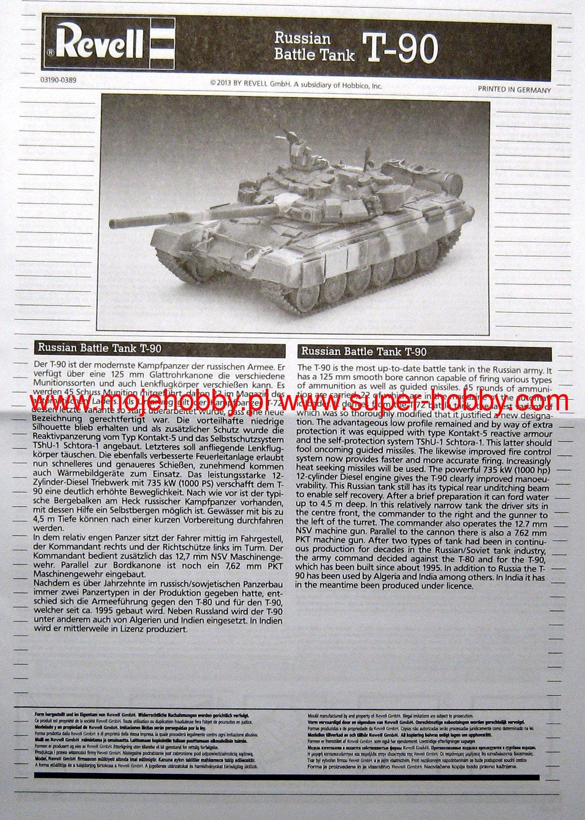 Revell Russian Battle Tank T-90 1:72 Revell 03190   .