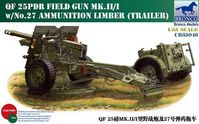 British QF 25pdr Field Gun Mk.II/I with No.27 Ammunition Limber